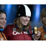 Christine with Gold Medal after winning the 1000 m event, Vancouver 2010 Olympics